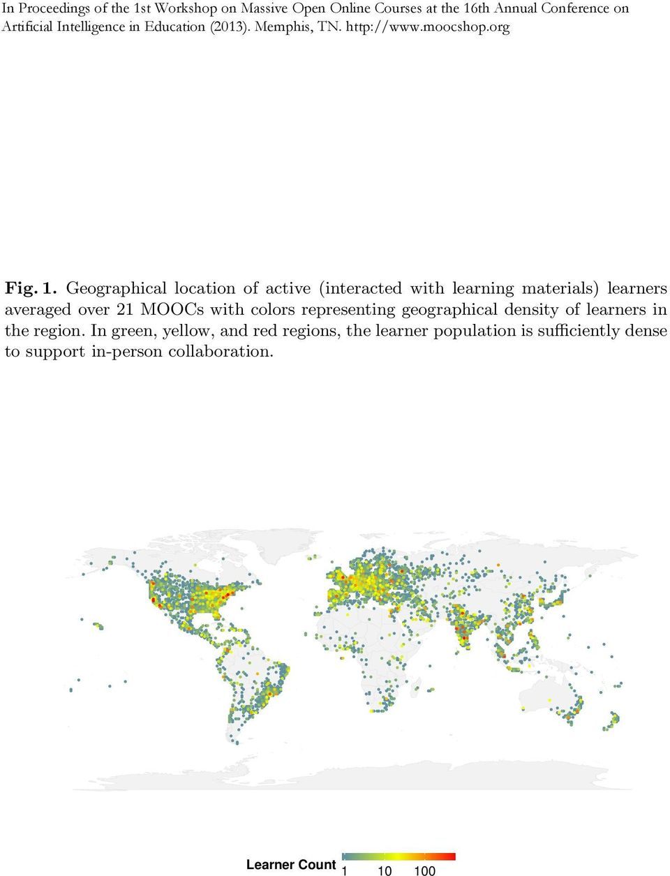 averaged over 21 MOOCs with colors representing geographical density of