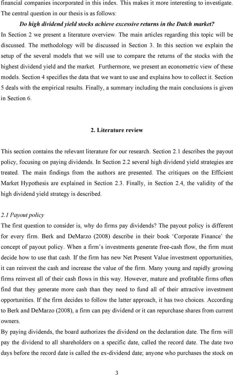 literature review on dividend policy