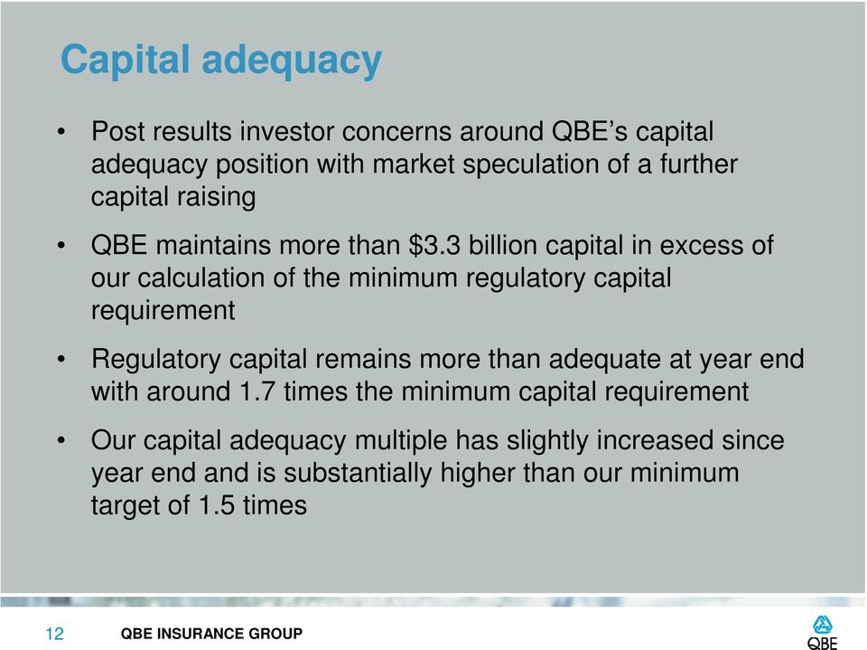 3 billion capital in excess of our calculation of the minimum regulatory capital requirement Regulatory capital remains more