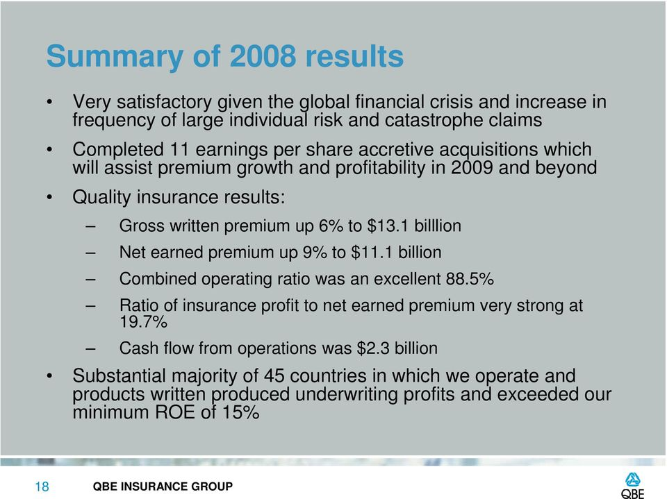 1 billlion Net earned premium up 9% to $11.1 billion Combined operating ratio was an excellent 88.5% Ratio of insurance profit to net earned premium very strong at 19.