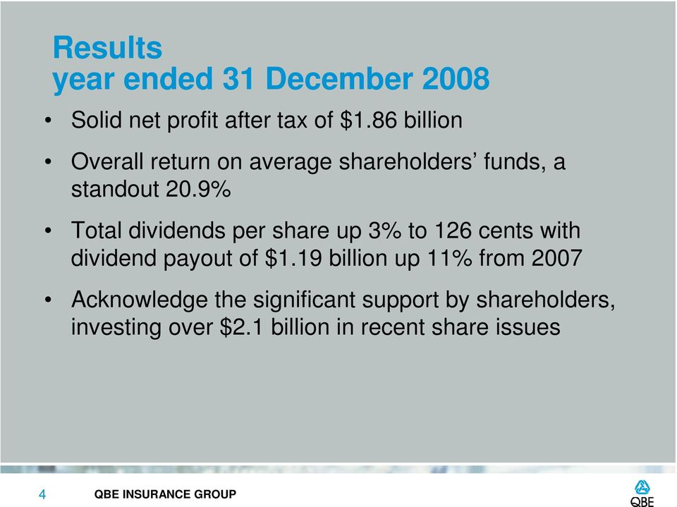 9% Total dividends per share up 3% to 126 cents with dividend payout of $1.