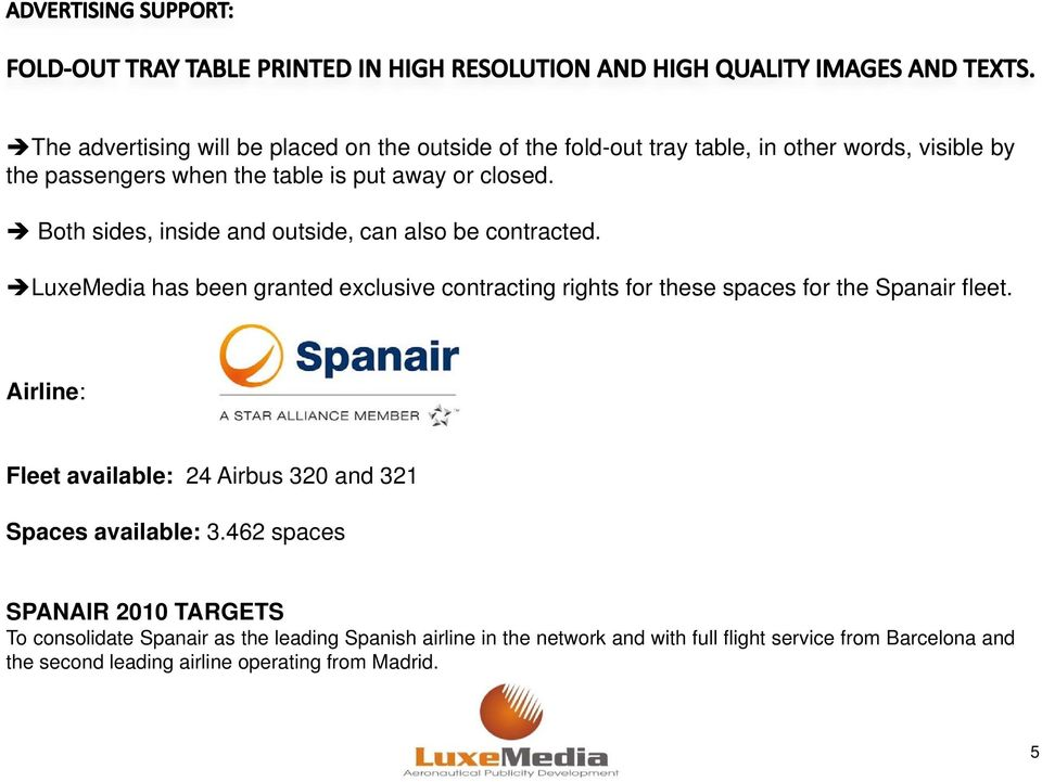 LuxeMedia has been granted exclusive contracting rights for these spaces for the Spanair fleet.