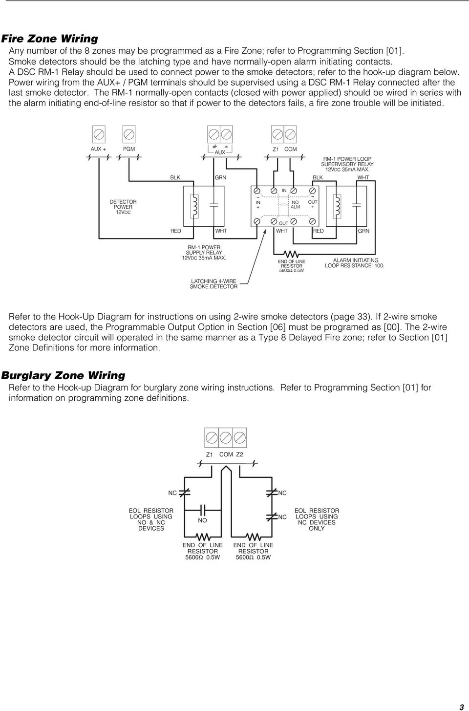 A DSC RM-1 Relay should be used to connect power to the smoke detectors; refer to the hook-up diagram below.