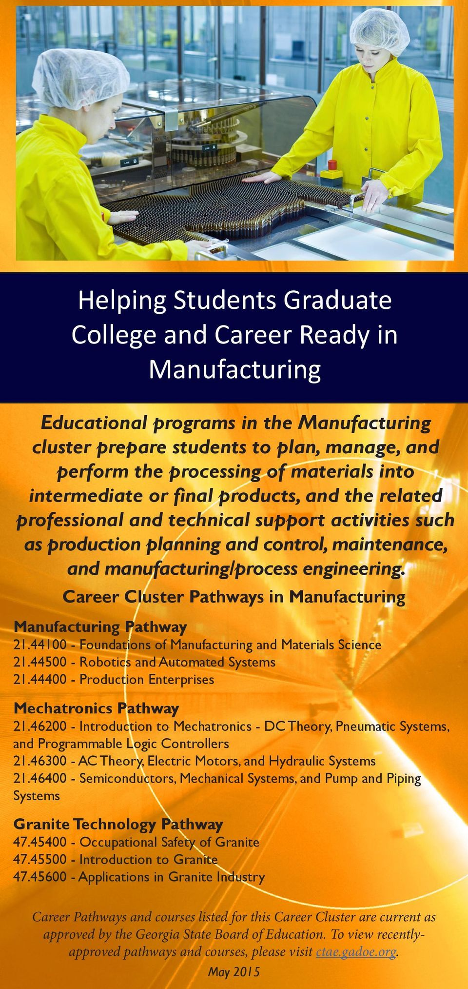Career Cluster Pathways in Manufacturing Manufacturing Pathway 21.44100 - Foundations of Manufacturing and Materials Science 21.44500 - Robotics and Automated Systems 21.