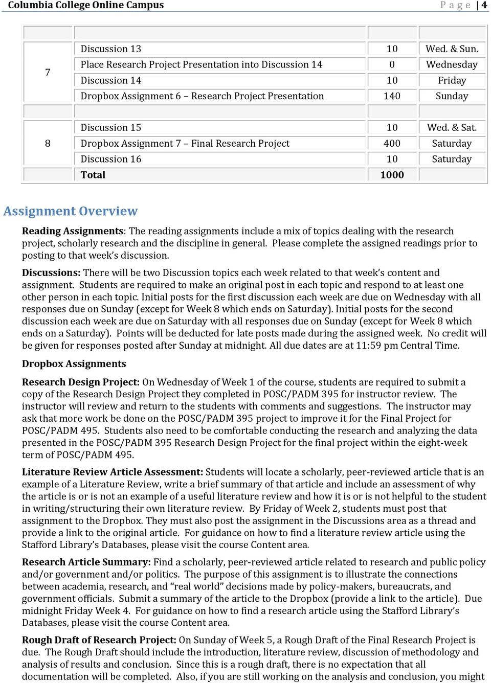 Dropbox Assignment 7 Final Research Project 400 Saturday Discussion 16 10 Saturday Total 1000 Assignment Overview Reading Assignments: The reading assignments include a mix of topics dealing with the