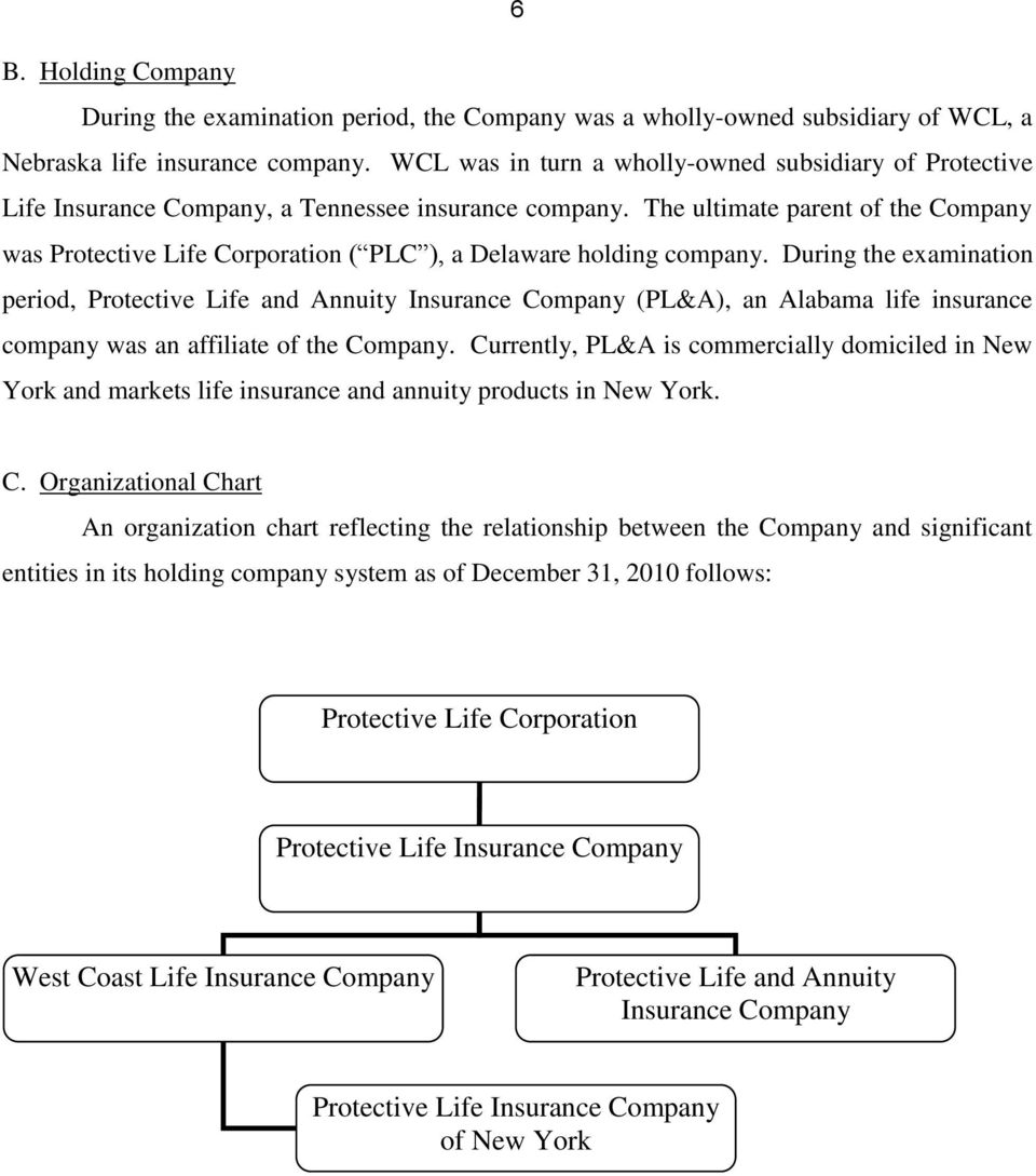 The ultimate parent of the Company was Protective Life Corporation ( PLC ), a Delaware holding company.
