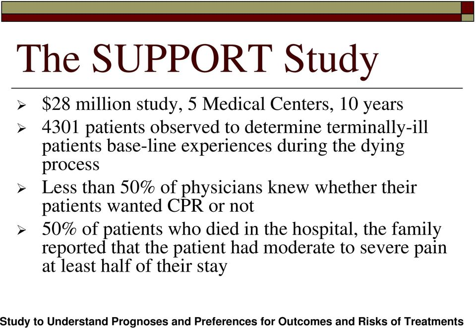 wanted CPR or not 50% of patients who died in the hospital, the family reported that the patient had moderate to