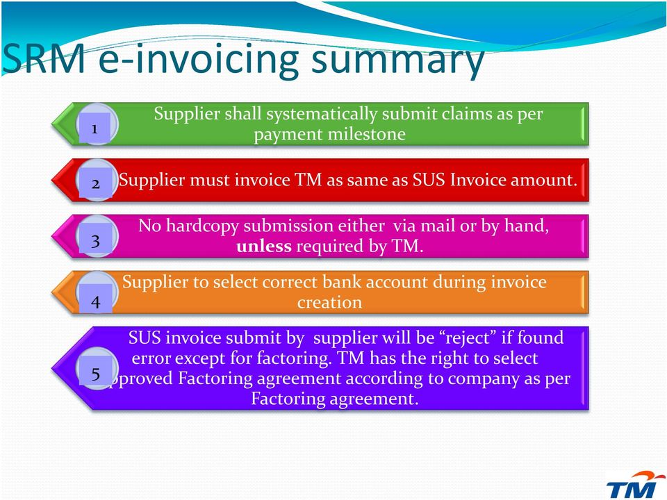 Supplier to select correct bank account during invoice creation SUS invoice submit by supplier will be reject if found