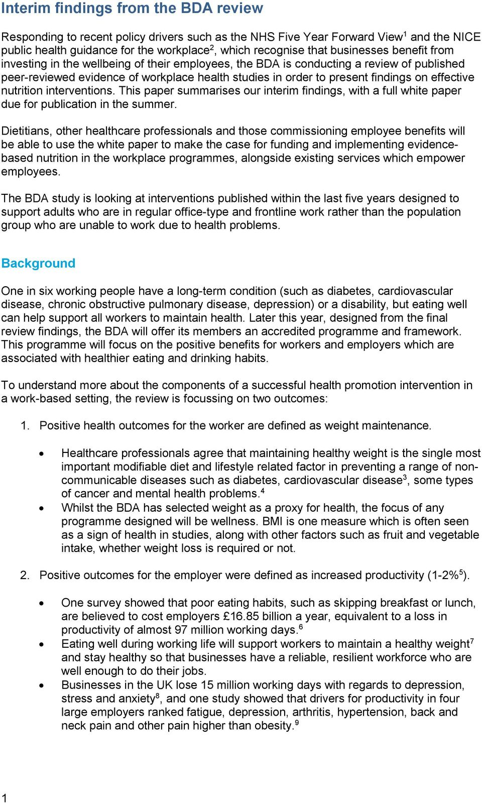 effective nutrition interventions. This paper summarises our interim findings, with a full white paper due for publication in the summer.