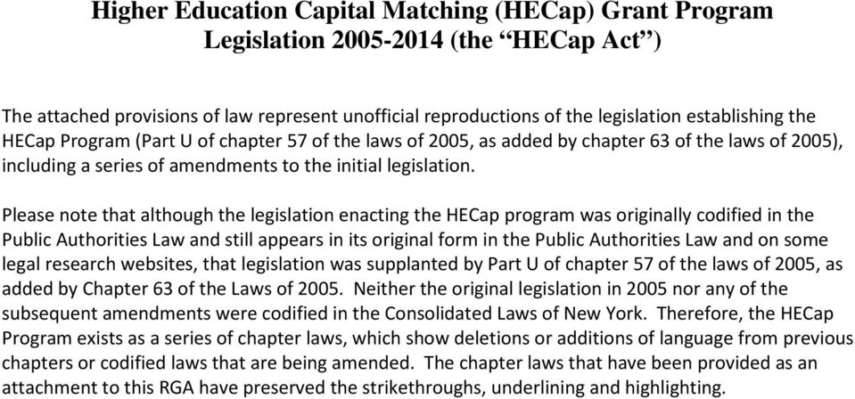 Please note that although the legislation enacting the HECap program was originally codified in the Public Authorities Law and still appears in its original form in the Public Authorities Law and on