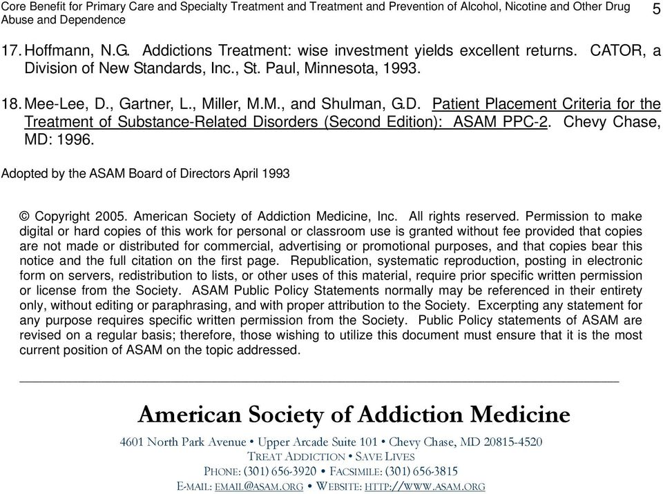 American Society of Addiction Medicine, Inc. All rights reserved.