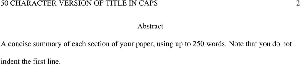 section of your paper, using up to 250