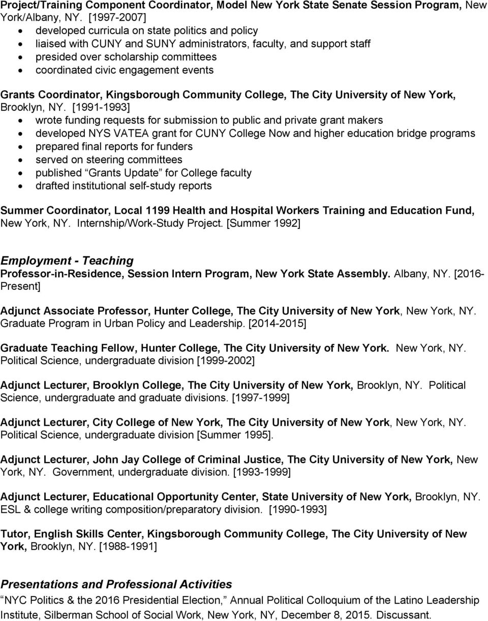 events Grants Coordinator, Kingsborough Community College, The City University of New York, Brooklyn, NY.