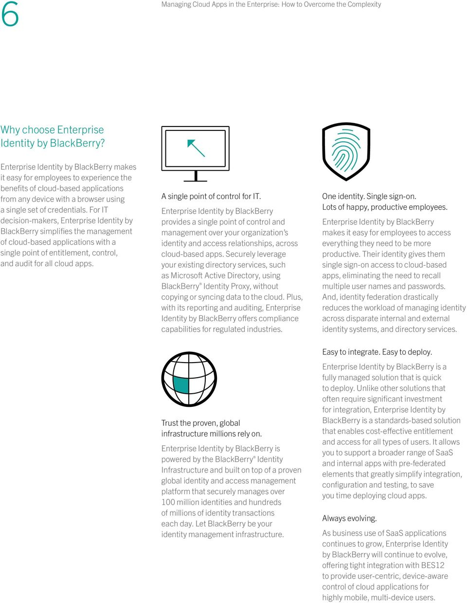 For IT decision-makers, Enterprise Identity by BlackBerry simplifies the management of cloud-based applications with a single point of entitlement, control, and audit for all cloud apps.