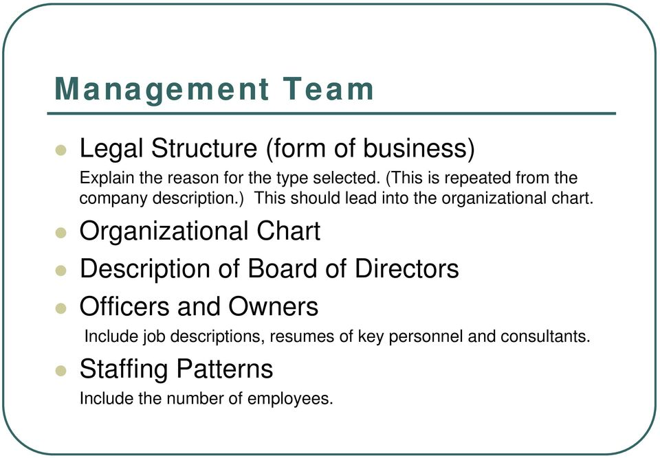 Organizational Chart Description of Board of Directors Officers and Owners Include job