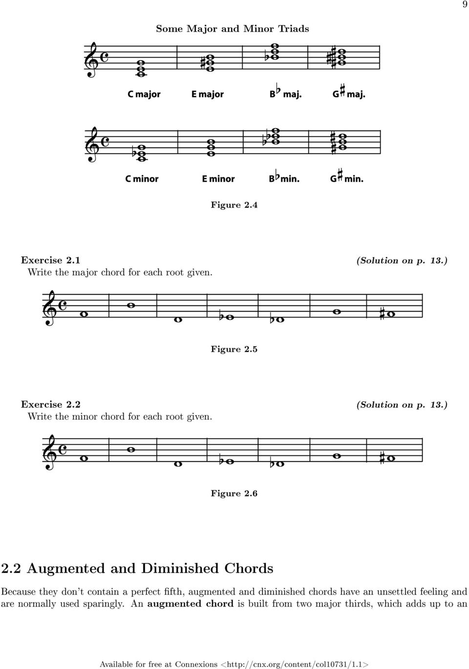) Write the minor chord for each root given. Figure 2.6 2.