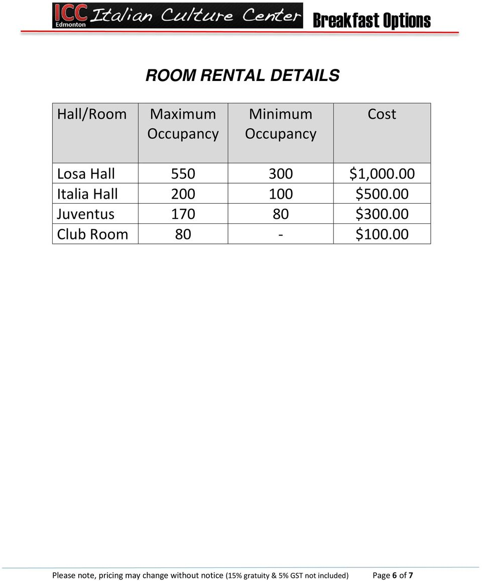 00 Juventus 170 80 $300.00 Club Room 80 - $100.