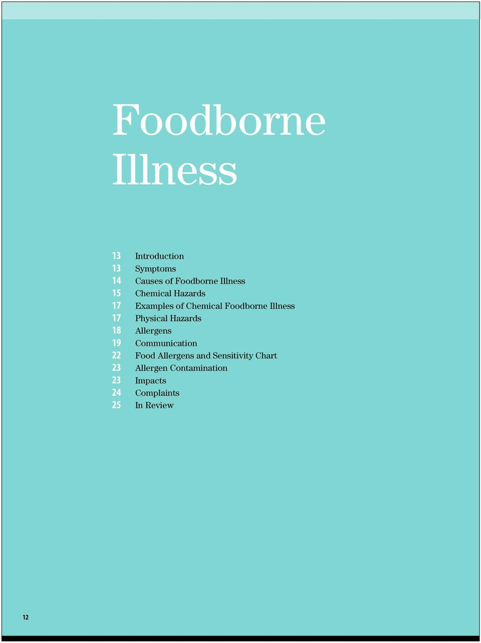 Physical Hazards 18 Allergens 19 Communication 22 Food Allergens and