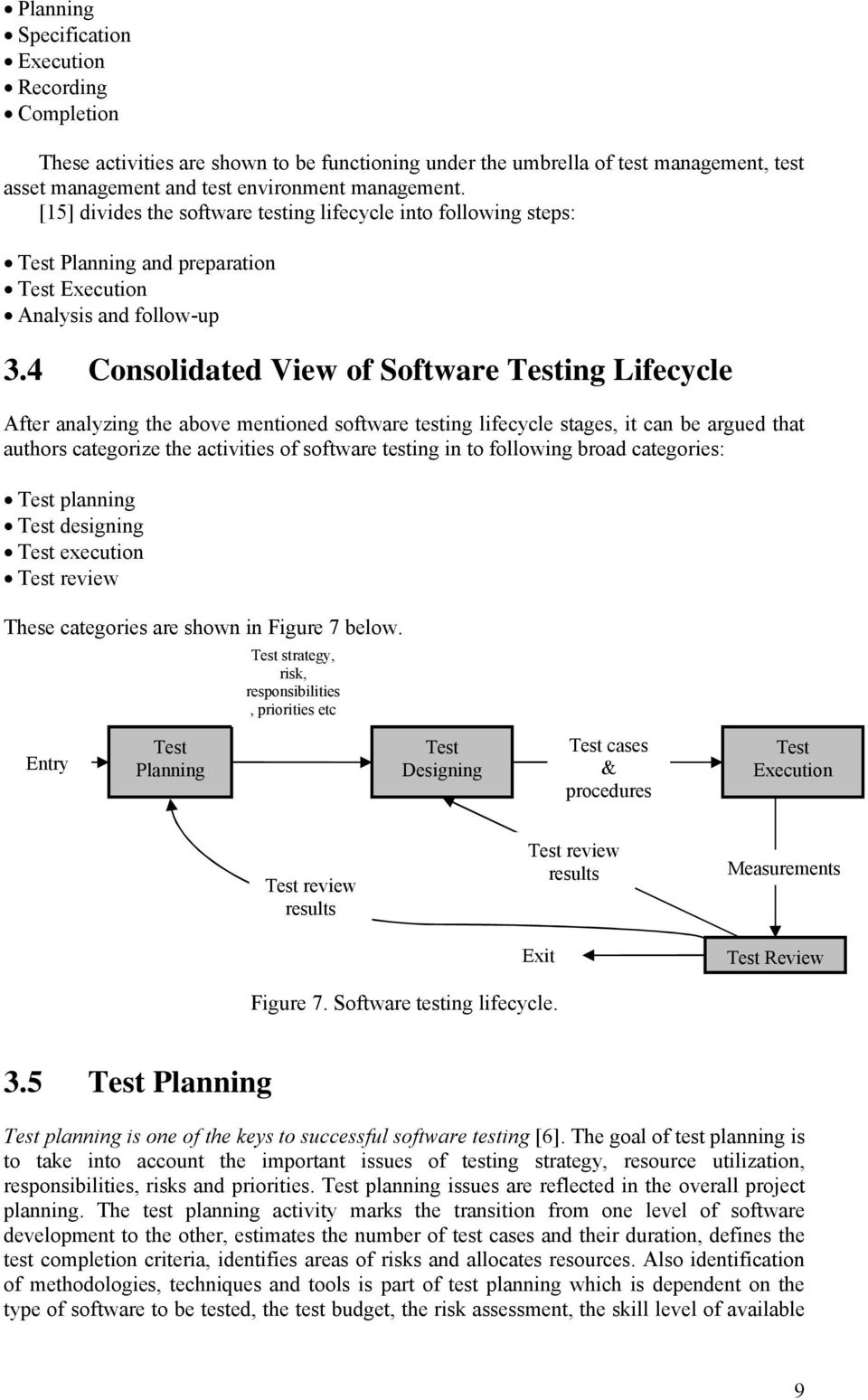 4 Consolidated View of Software Testing Lifecycle After analyzing the above mentioned software testing lifecycle stages, it can be argued that authors categorize the activities of software testing in