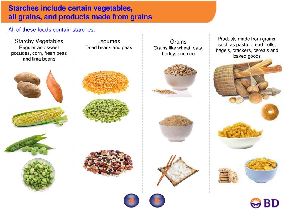 lima beans Legumes Dried beans and peas Grains Grains like wheat, oats, barley, and rice