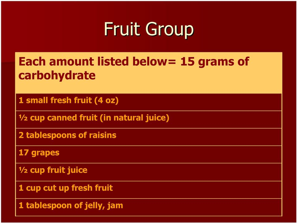 fruit (in natural juice) 2 tablespoons of raisins 17