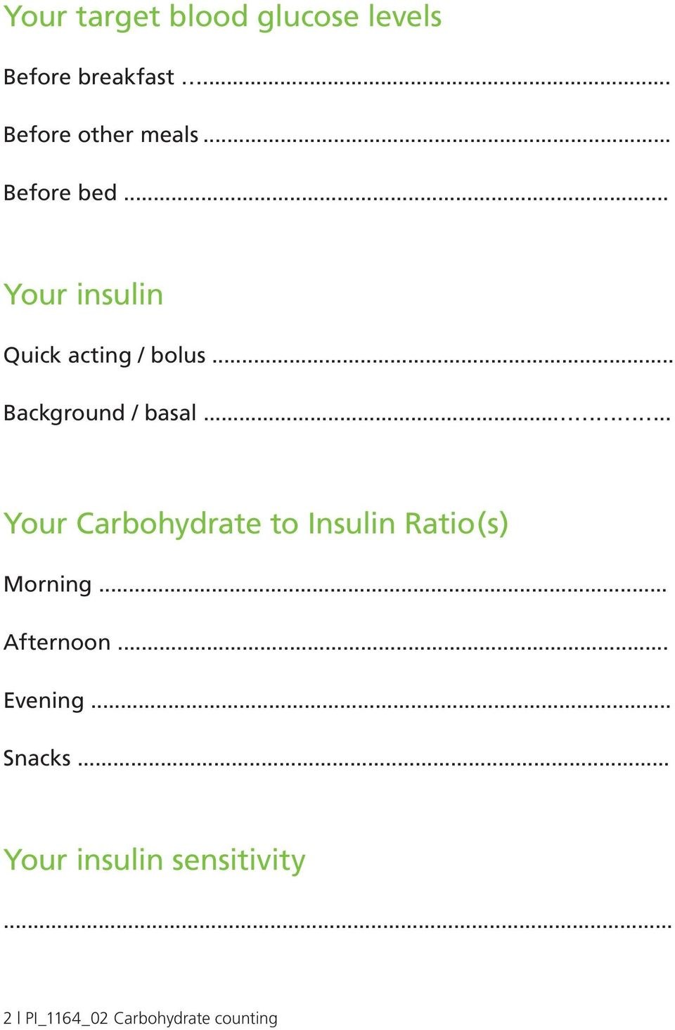 .... Your Carbohydrate to Insulin Ratio(s) Morning... Afternoon... Evening.
