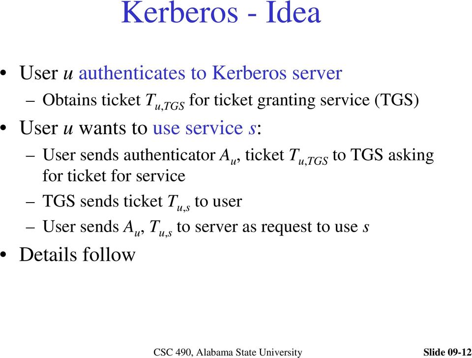 authenticator A u, ticket T u,tgs to TGS asking for ticket for service TGS sends