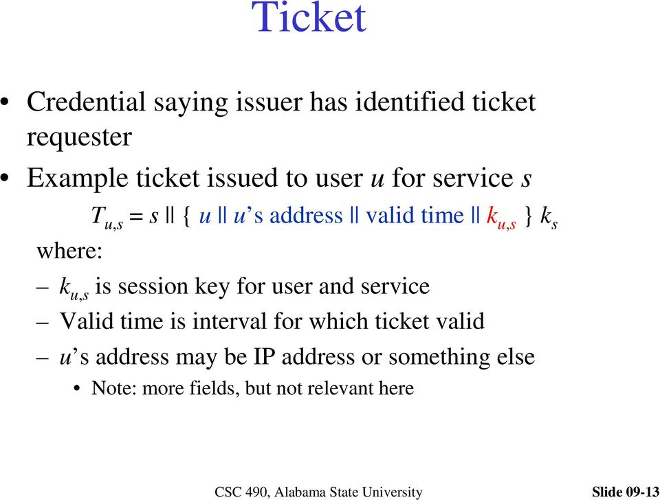 session key for user and service Valid time is interval for which ticket valid u s