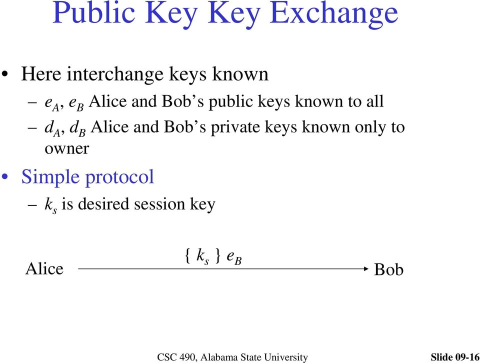 and Bob s private keys known only to owner Simple protocol
