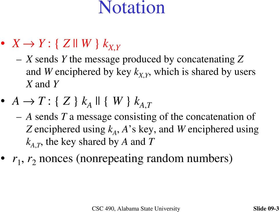 sends T a message consisting of the concatenation of Z enciphered using k A, A s key, and W