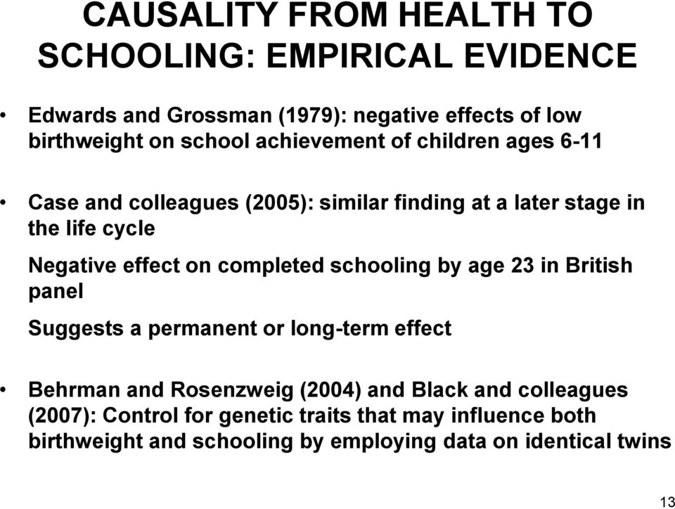 completed schooling by age 23 in British panel Suggests a permanent or long-term effect Behrman and Rosenzweig (2004) and Black and