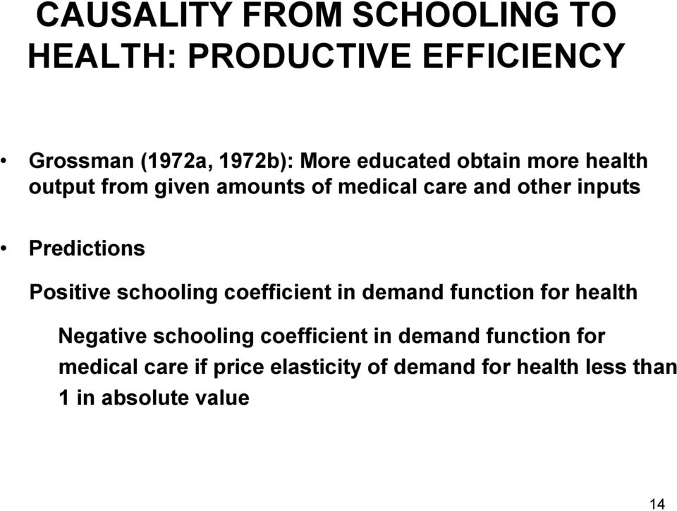 Positive schooling coefficient in demand function for health Negative schooling coefficient in
