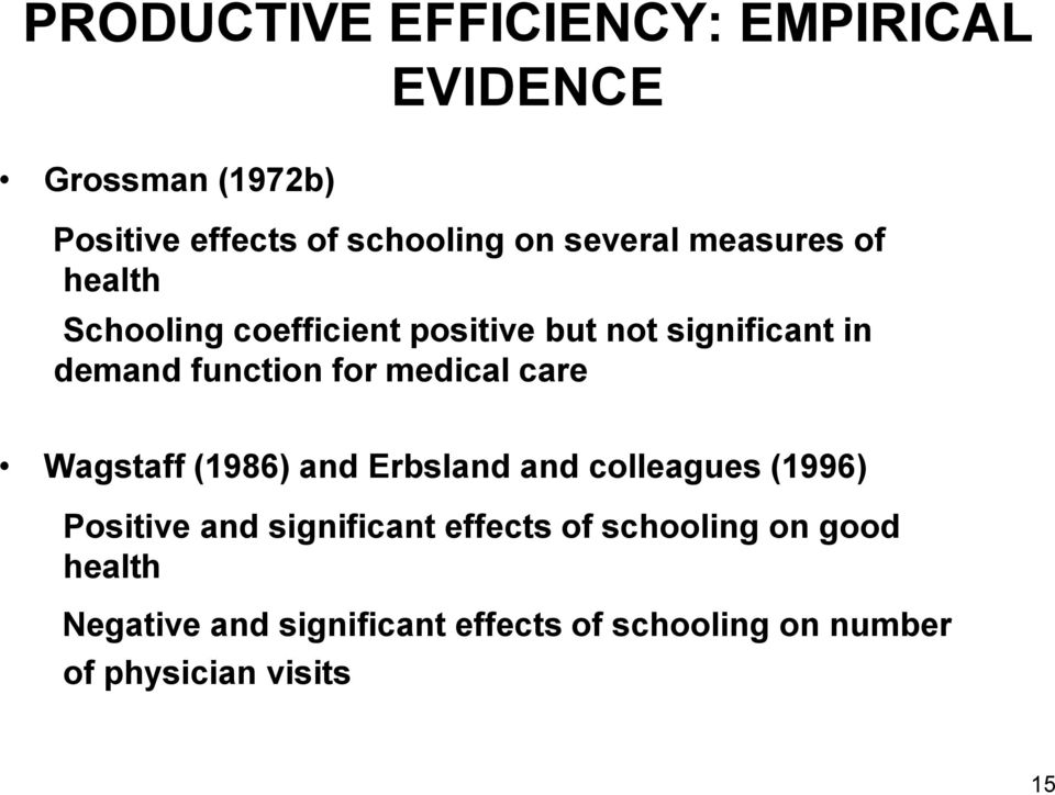 for medical care Wagstaff (1986) and Erbsland and colleagues (1996) Positive and significant