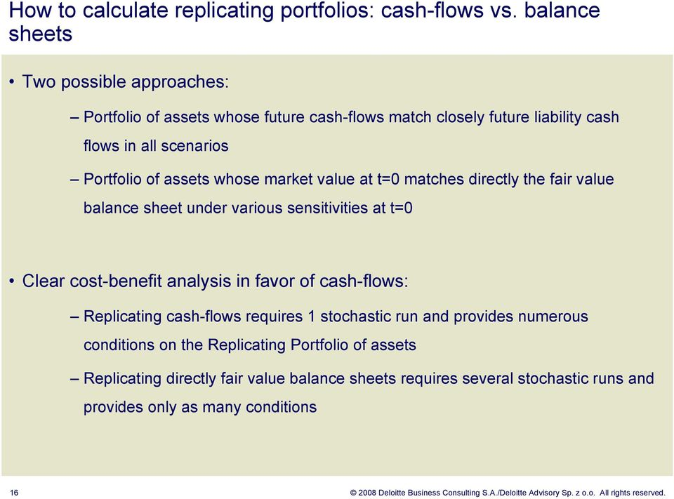 value at t=0 matches directly the fair value balance sheet under various sensitivities at t=0 Clear cost-benefit analysis in favor of cash-flows: Replicating cash-flows