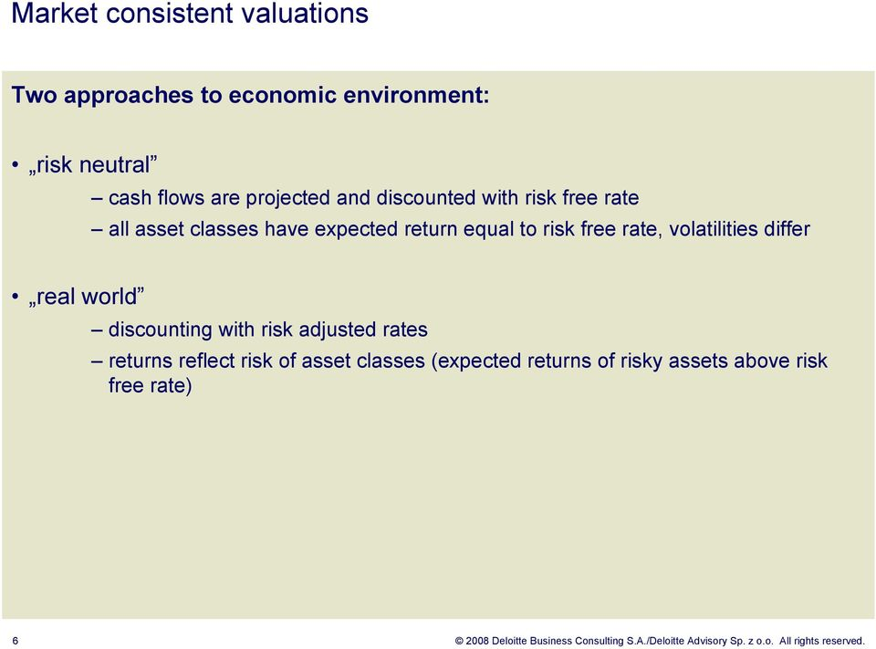 real world discounting with risk adjusted rates returns reflect risk of asset classes (expected returns of risky