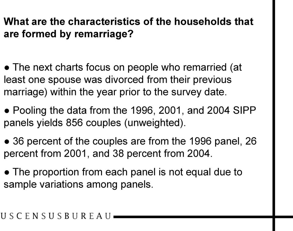 prior to the survey date. Pooling the data from the 1996, 2001, and 2004 SIPP panels yields 856 couples (unweighted).
