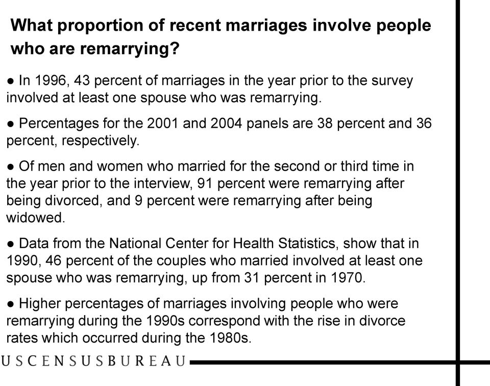Of men and women who married for the second or third time in the year prior to the interview, 91 percent were remarrying after being divorced, and 9 percent were remarrying after being widowed.