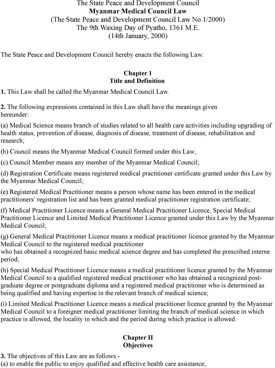 00) The State Peace and Development Council hereby enacts the following Law: Chapter 1 Title and Definition 1. This Law shall be called the Myanmar Medical Council Law. 2.