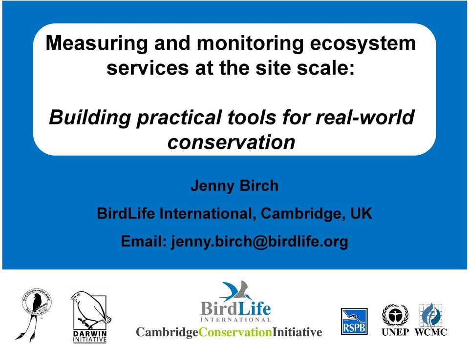 conservation Jenny Birch BirdLife International,