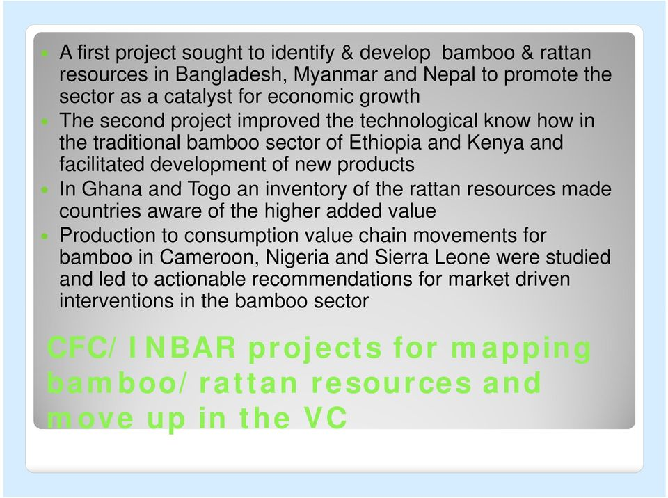 of the rattan resources made countries aware of the higher added value Production to consumption value chain movements for bamboo in Cameroon, Nigeria and Sierra Leone were
