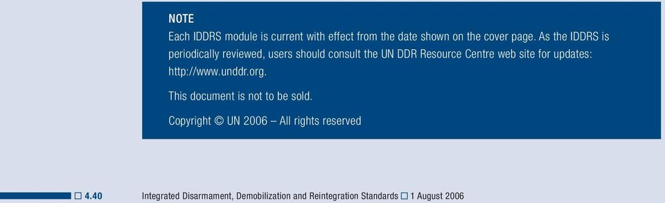 site for updates: http://www.unddr.org. This document is not to be sold.