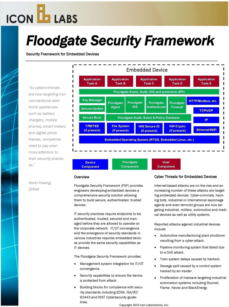 Kevin Kwang, ZDNet Overview Floodgate Security Framework (FSF) provides engineers developing embedded devices a comprehensive security solution allowing them to build secure, authenticated, trusted