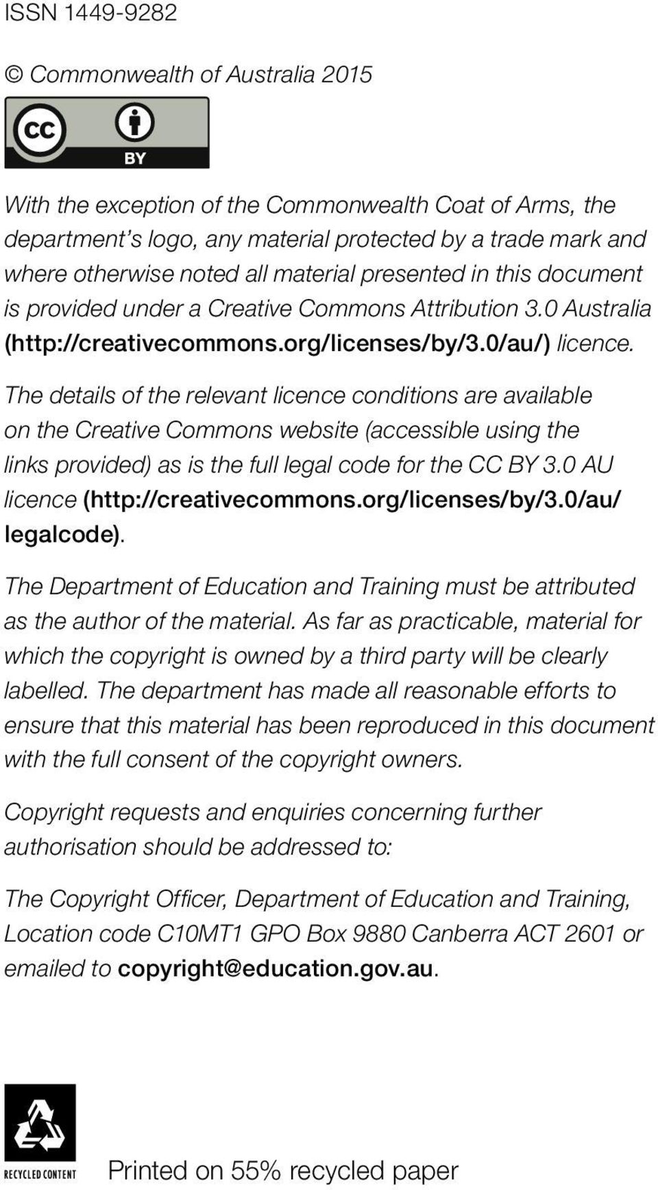 The details of the relevant licence conditions are available on the Creative Commons website (accessible using the links provided) as is the full legal code for the CC BY 3.