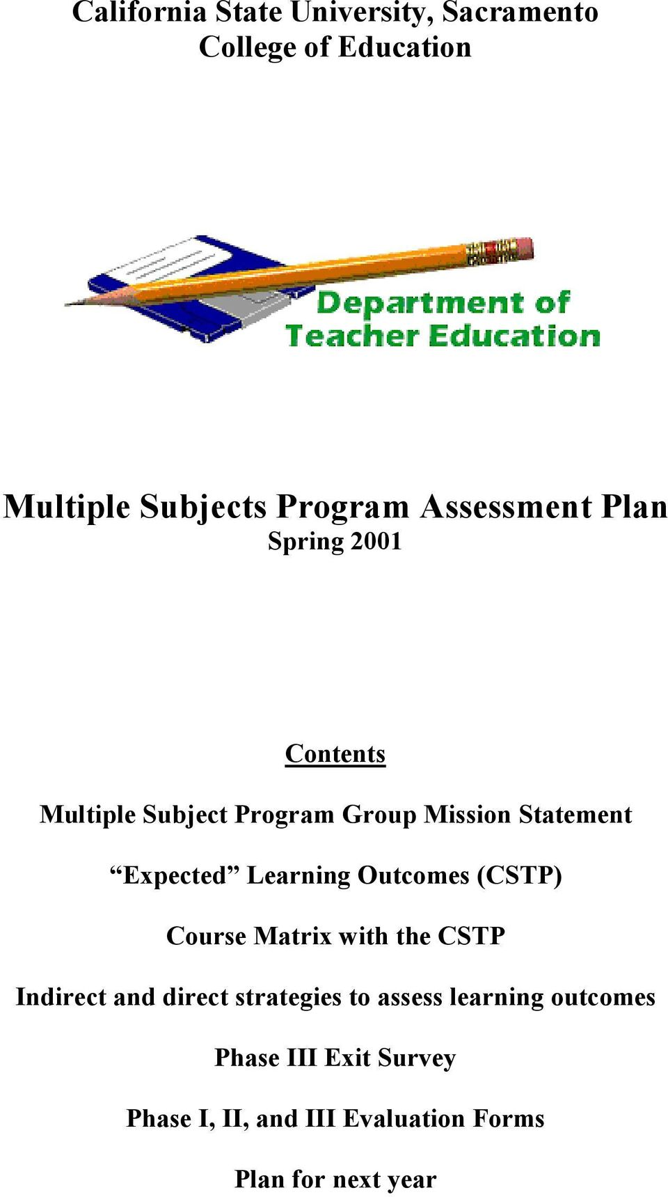 Expected Learning Outcomes (CSTP) Course Matrix with the CSTP Indirect and direct strategies