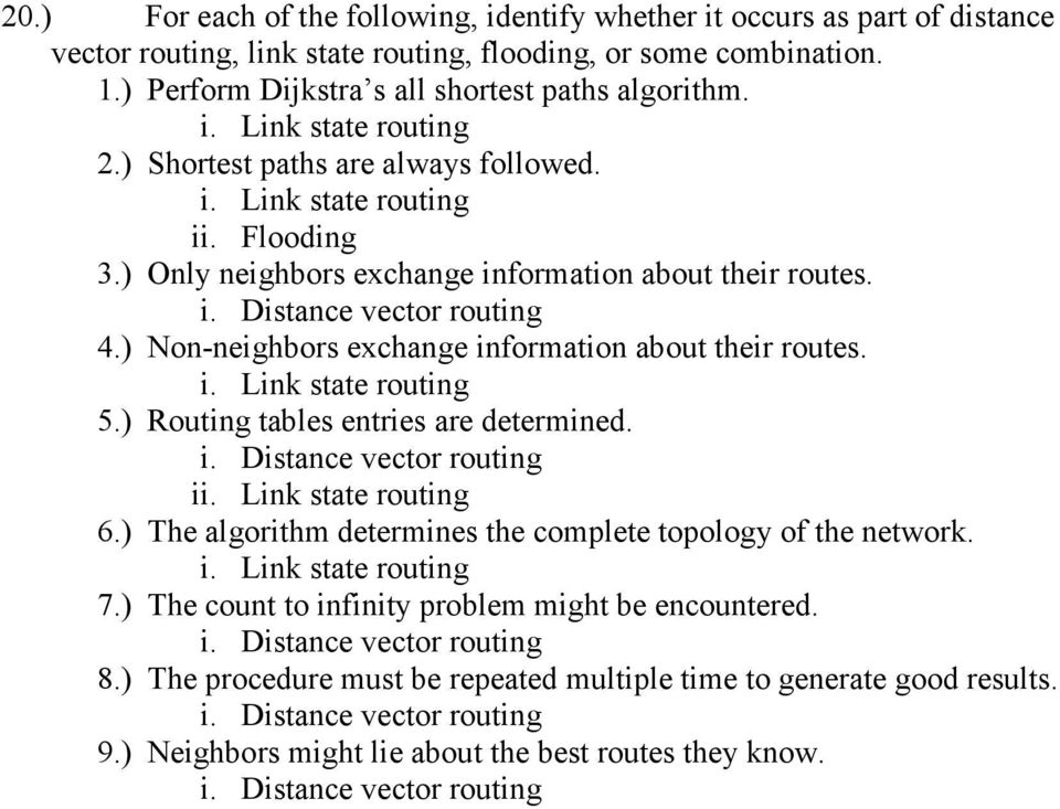 ) Non-neighbors exchange information about their routes. 5.) Routing tables entries are determined. i 6.