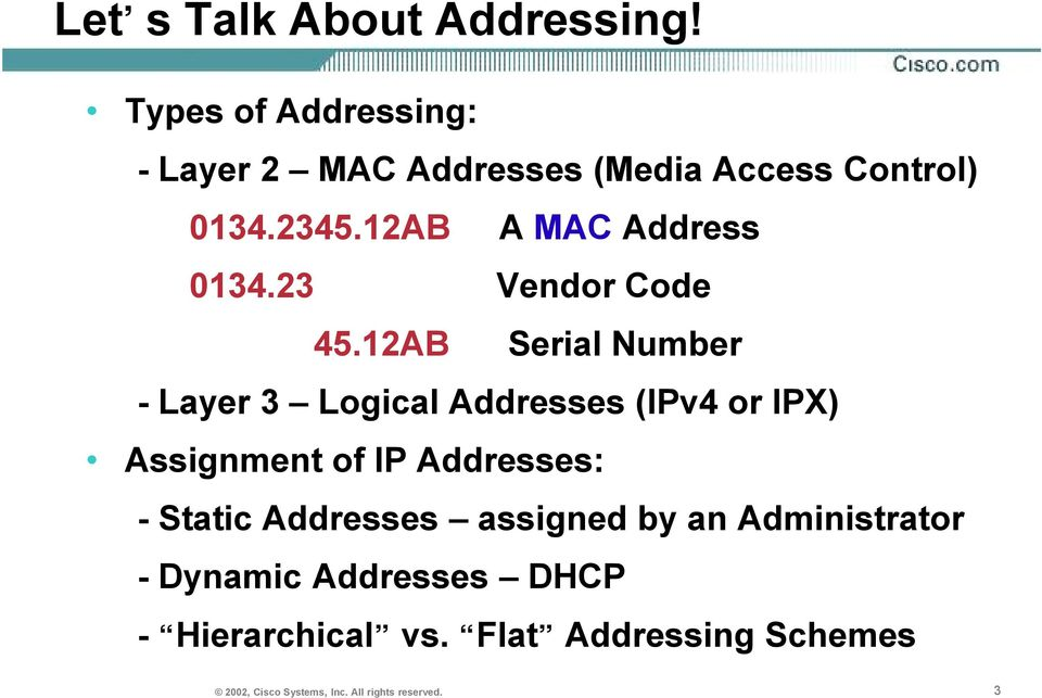 12AB A MAC Address 0134.23 Vendor Code 45.