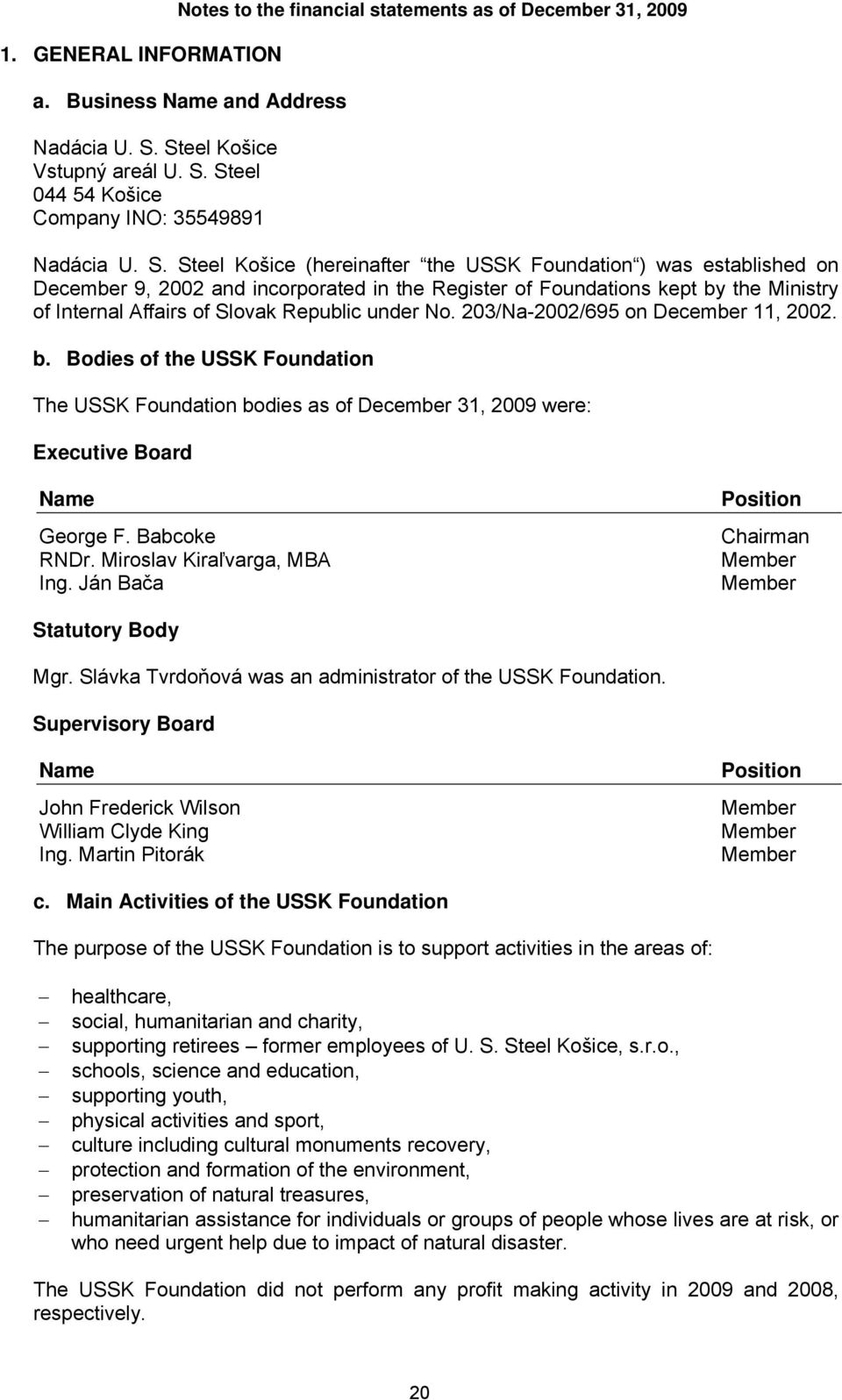 under 203/Na-2002/695 on December 11, 2002. b. Bodies of the USSK Foundation The USSK Foundation bodies as of December 31, 2009 were: Executive Board Name George F. Babcoke RNDr.