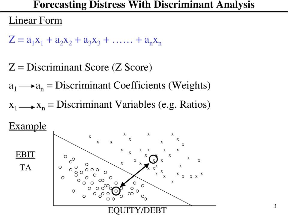 Score) a 1 1 a n = Discriminant Coefficients (Weights) n =