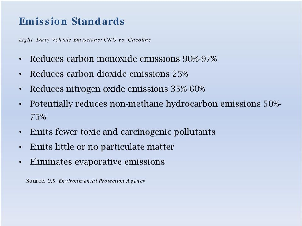 nitrogen oxide emissions 35%-60% Potentially reduces non-methane hydrocarbon emissions 50%- 75% Emits