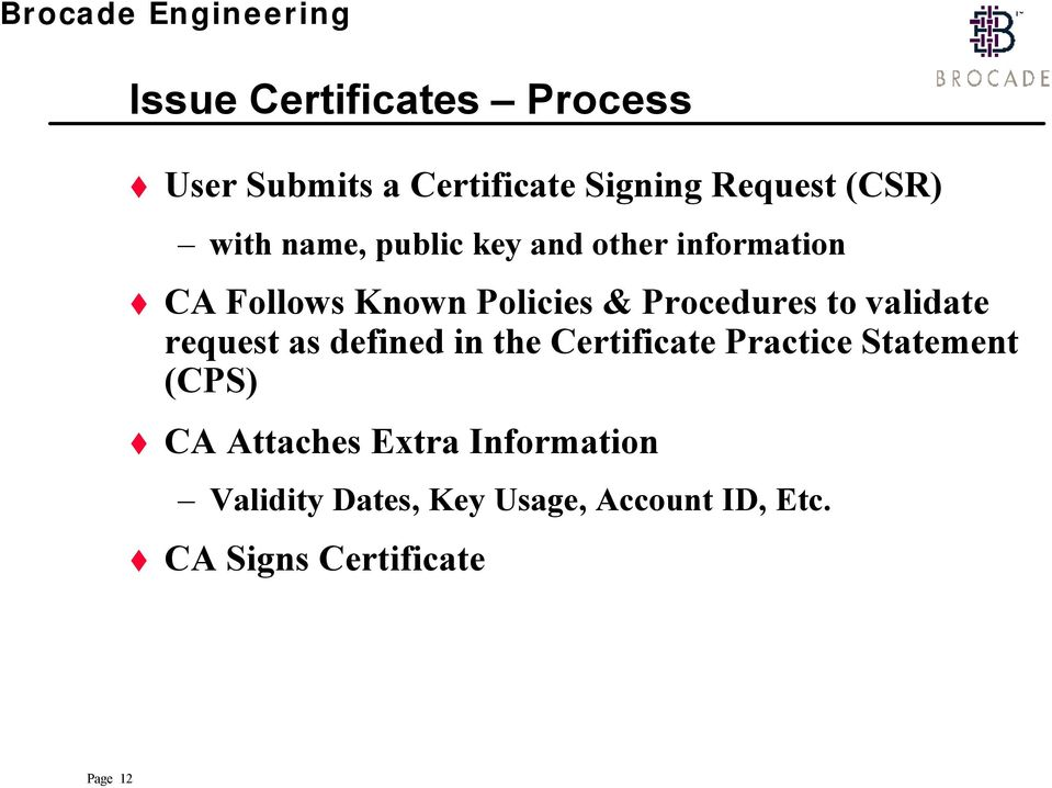 validate request as defined in the Certificate Practice Statement (CPS) CA Attaches